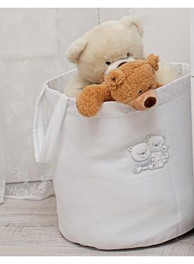 Sacco portagiochi in tessuto HAPPY FAMILY - Bianco