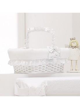 Cesto vimini Beauty rettangolare HAPPY FAMILY - Bianco