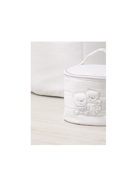 Beauty case tondo in tessuto HAPPY FAMILY - Bianco