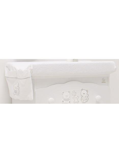 Copri fasciatoio HAPPY FAMILY in spugna con tasca - Bianco